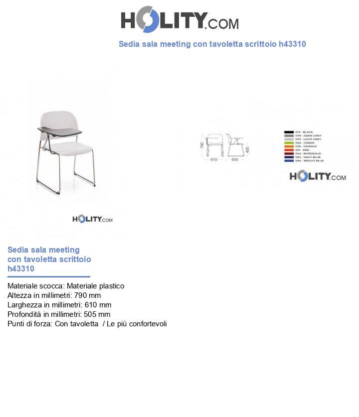 Sedia sala meeting con tavoletta scrittoio h43310
