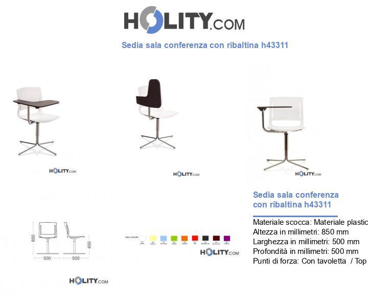 Sedia sala conferenza con ribaltina h43311
