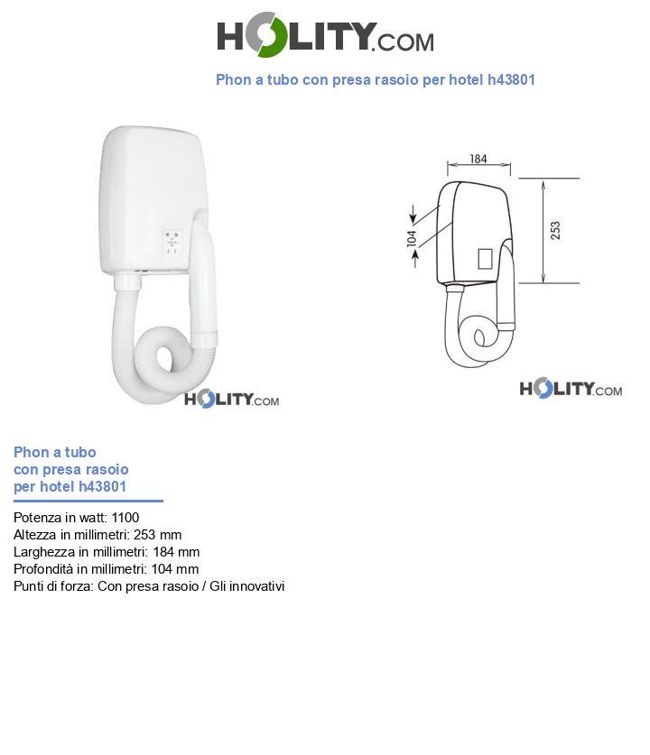 Phon a tubo con presa rasoio per hotel h43801