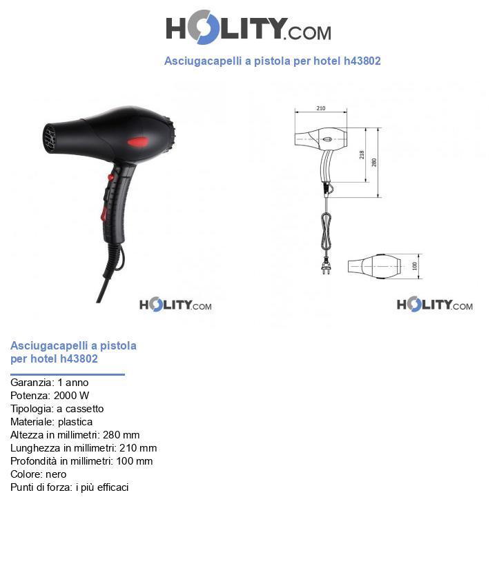Asciugacapelli a pistola per hotel h43802