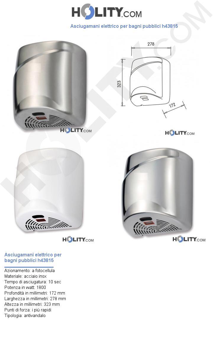 Asciugamani elettrico per bagni pubblici h43815