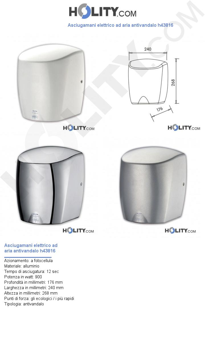 Asciugamani elettrico ad aria antivandalo h43816