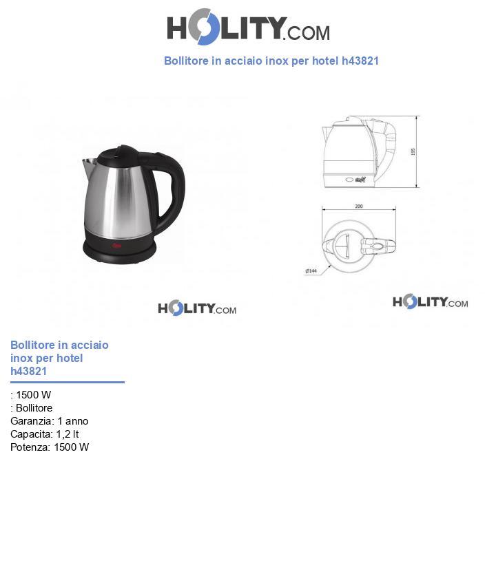 Bollitore in acciaio inox per hotel h43821