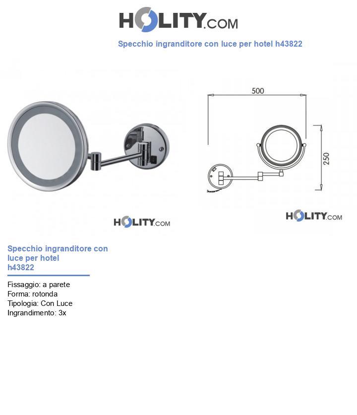 Specchio ingranditore con luce per hotel h43822
