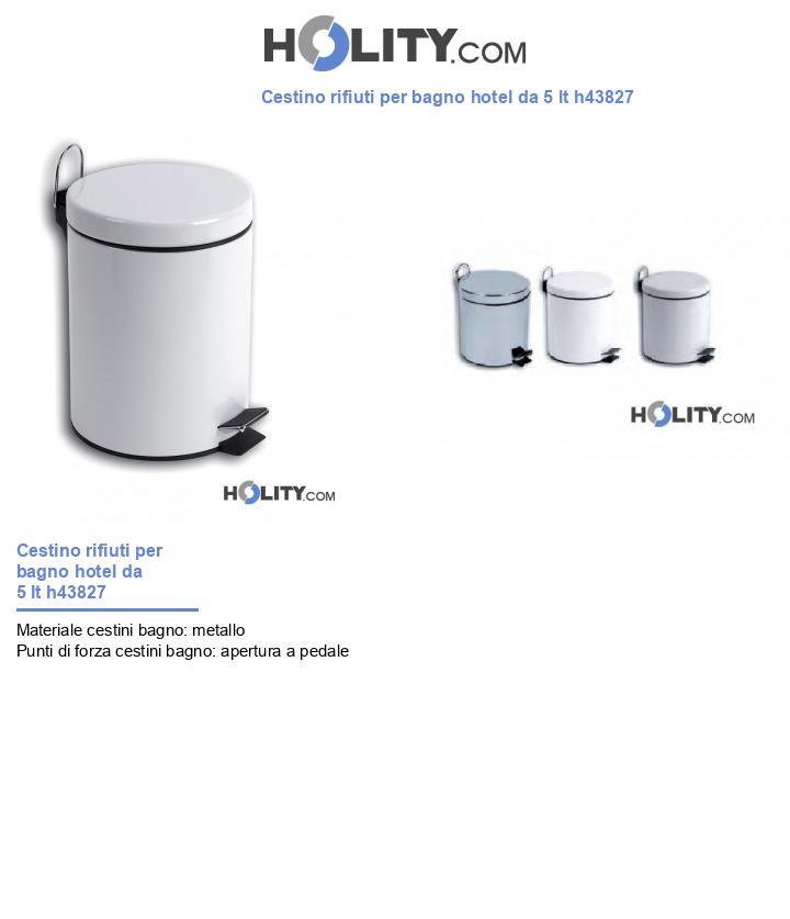 Cestino rifiuti per bagno hotel da 5 lt h43827