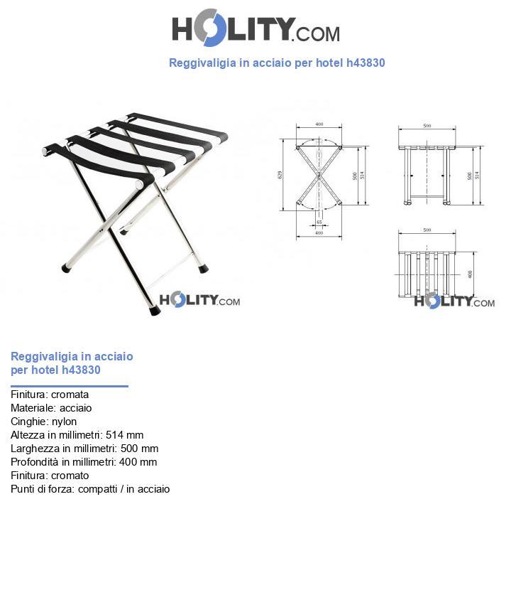 Reggivaligia in acciaio per hotel h43830