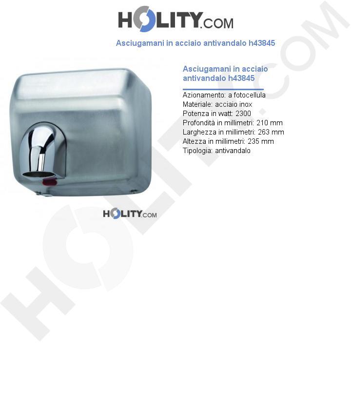 Asciugamani in acciaio antivandalo h43845