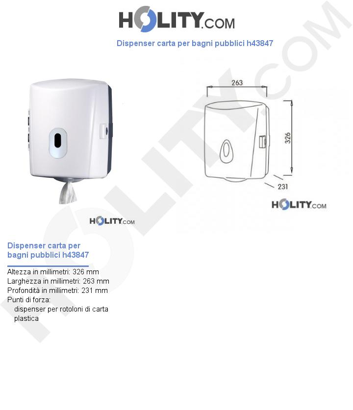 Dispenser carta per bagni pubblici h43847