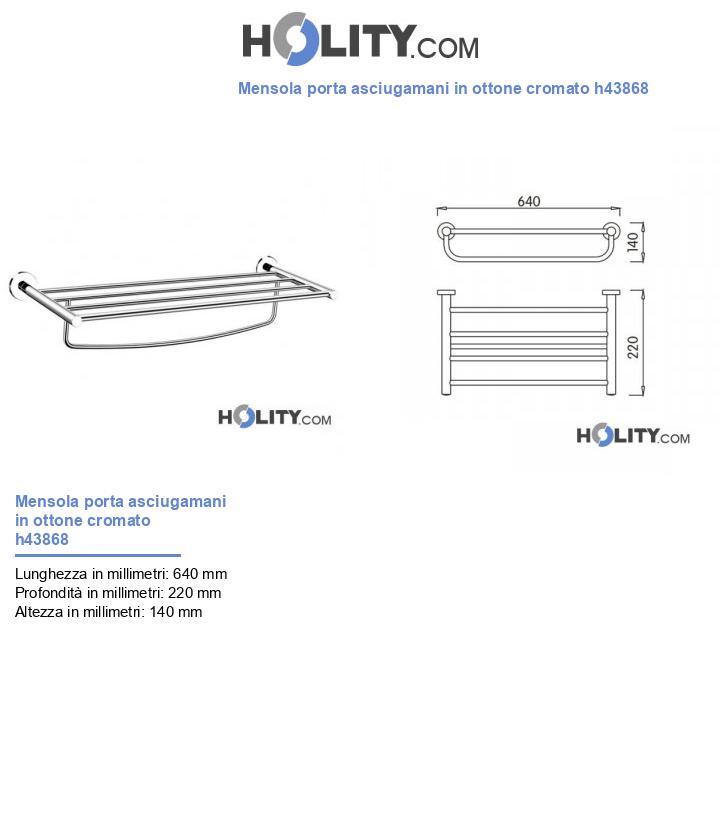Mensola porta asciugamani in ottone cromato h43868