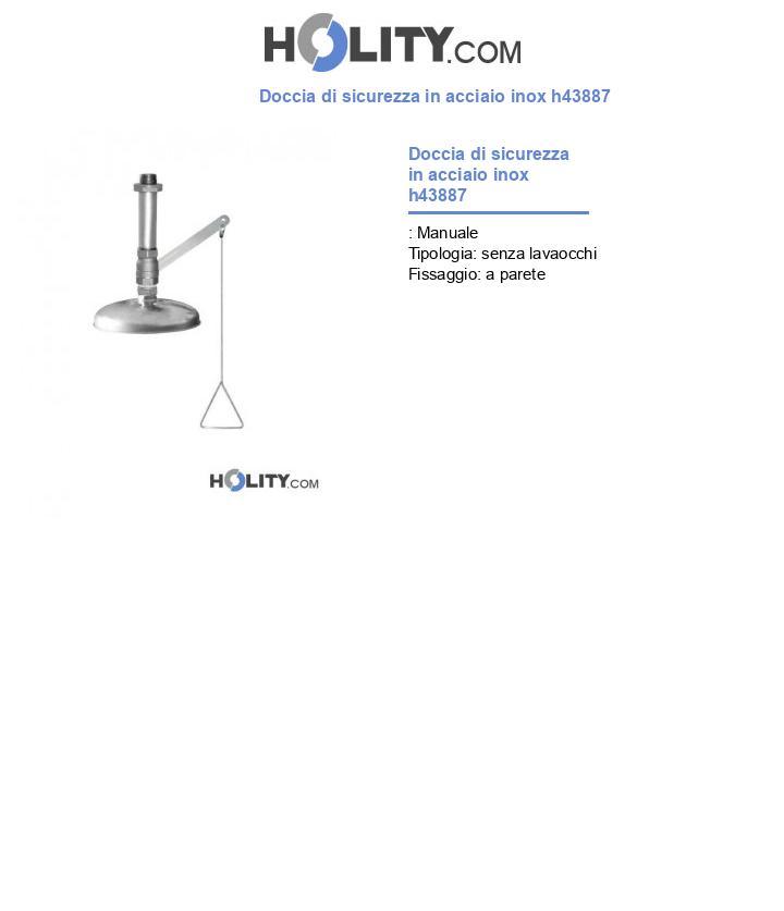 Doccia di sicurezza in acciaio inox h43887
