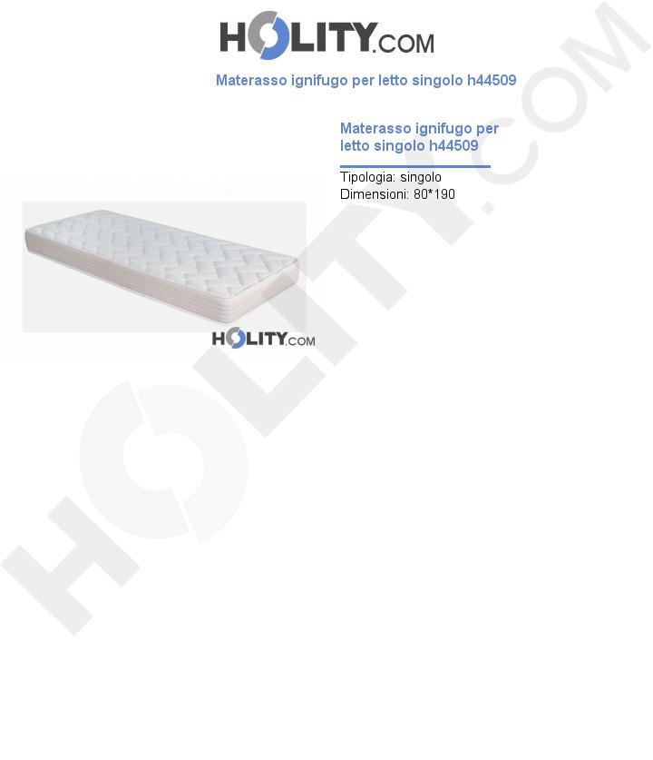 Materasso ignifugo per letto singolo h44509