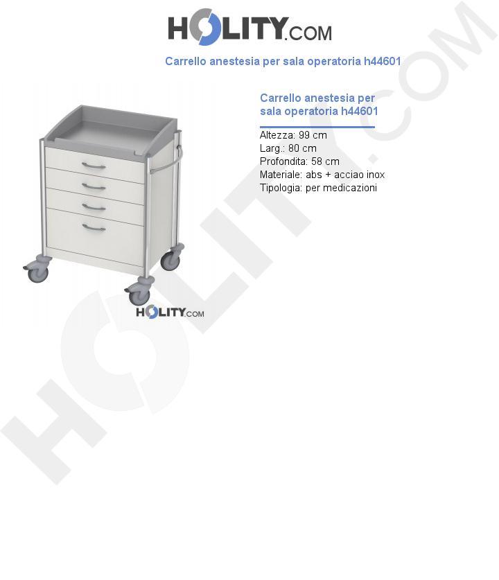 Carrello anestesia per sala operatoria h44601