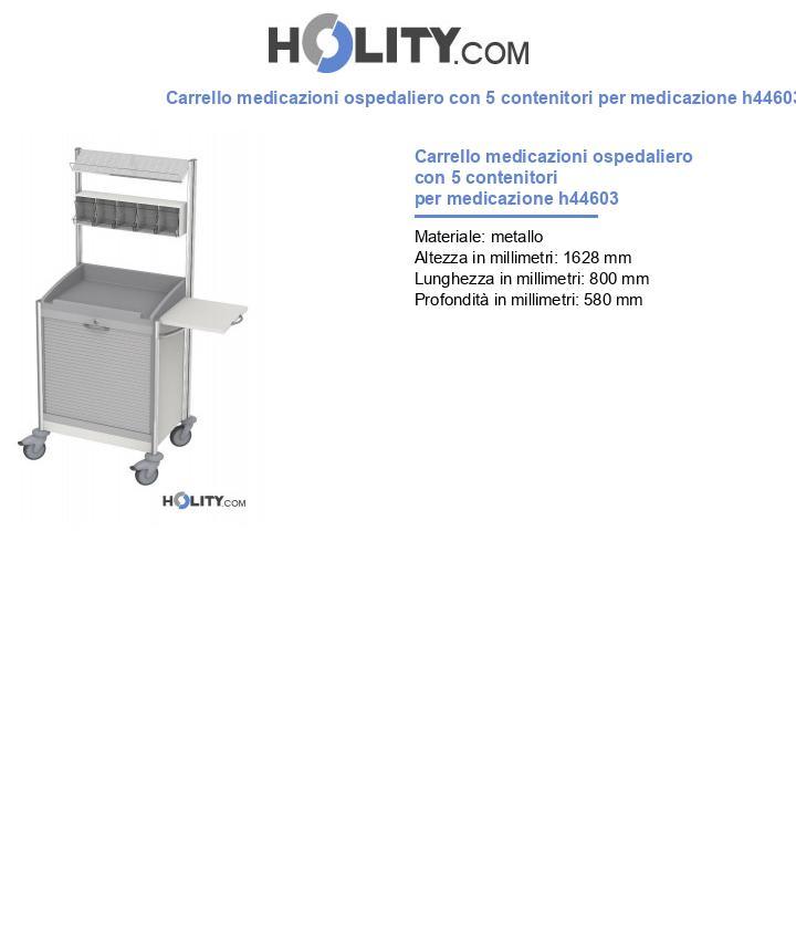 Carrello ospedaliero con 5 contenitori per medicazione h44603