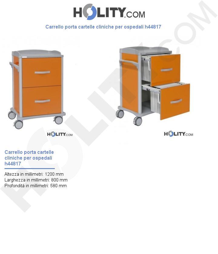 Carrello porta cartelle cliniche per ospedali h44817