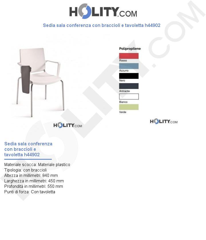 Sedia sala conferenza con braccioli e tavoletta h44902