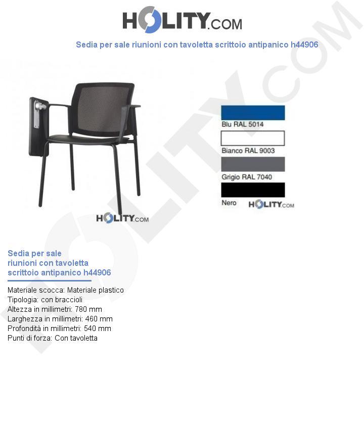 Sedia per sale riunioni con tavoletta scrittoio antipanico h44906