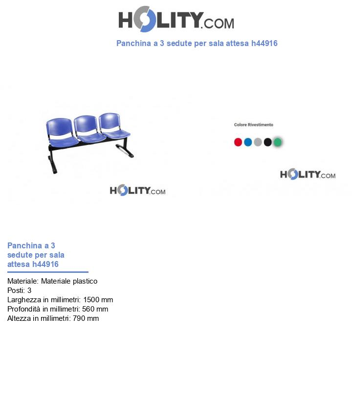 Panchina a 3 sedute per sala attesa h44916
