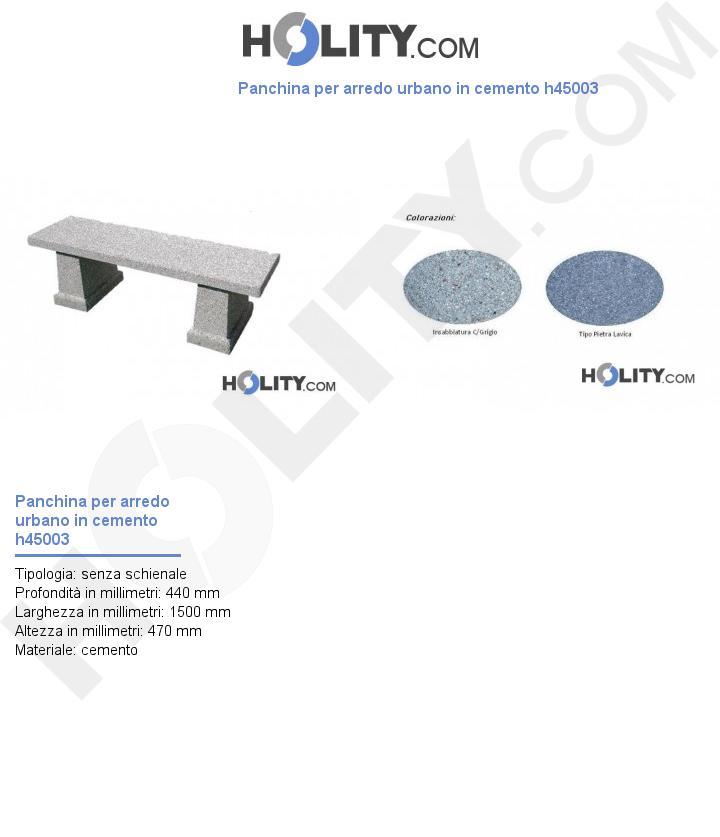 Panchina per arredo urbano in cemento h45003