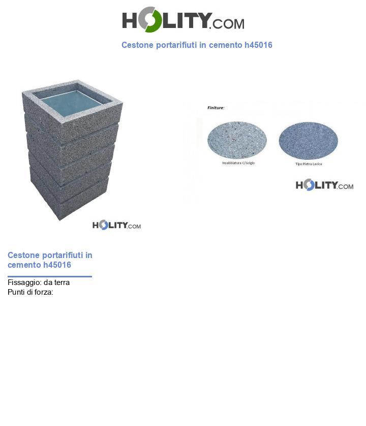 Cestone portarifiuti in cemento h45016