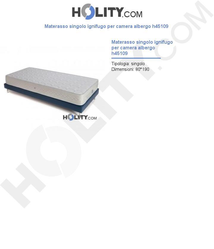 Materasso singolo ignifugo per camera albergo h45109