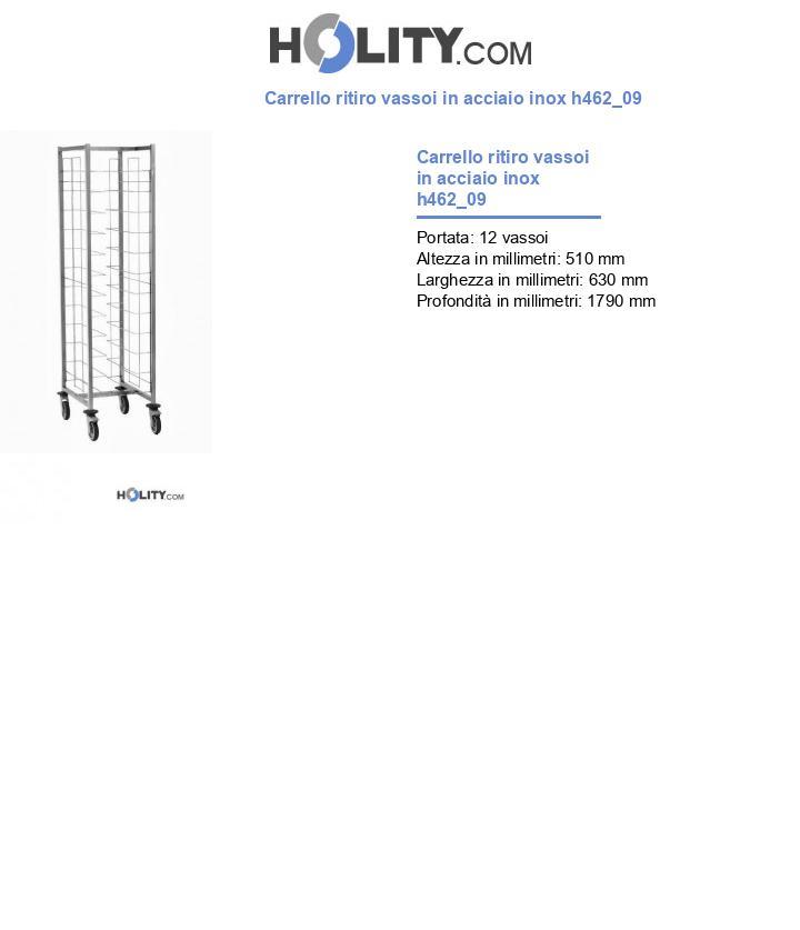 Carrello ritiro vassoi in acciaio inox h462_09