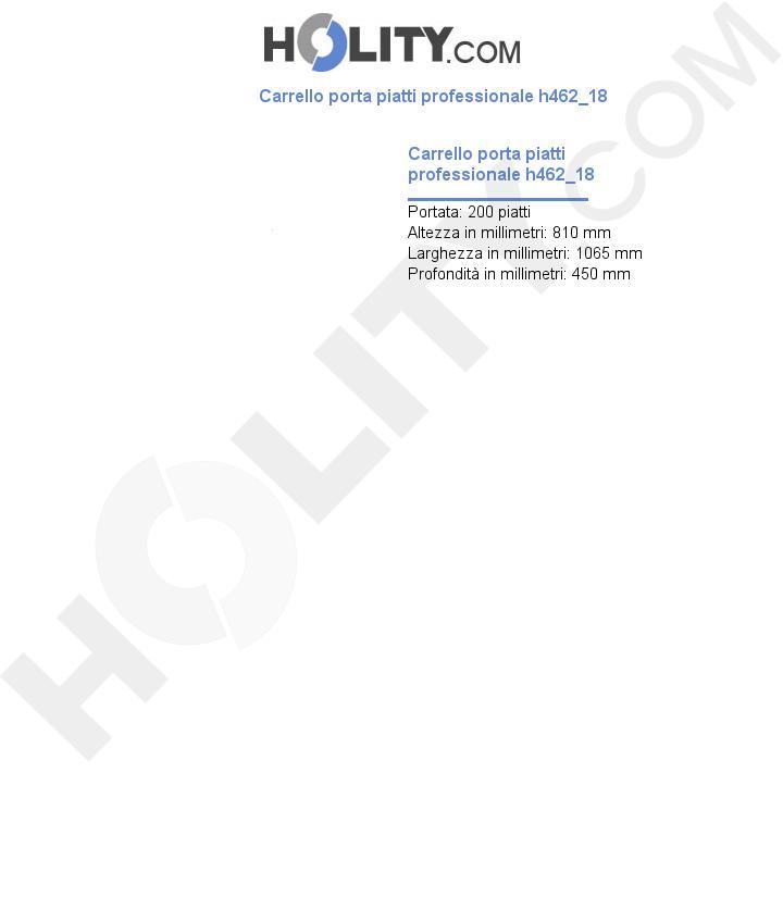 Carrello porta piatti professionale h462_18