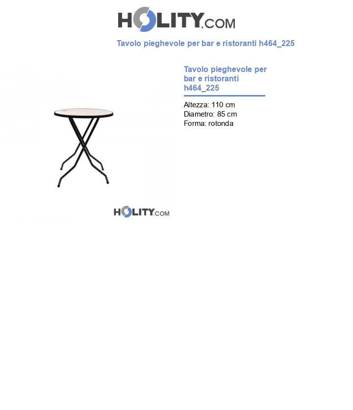 Tavolo pieghevole per bar e ristoranti h464_225