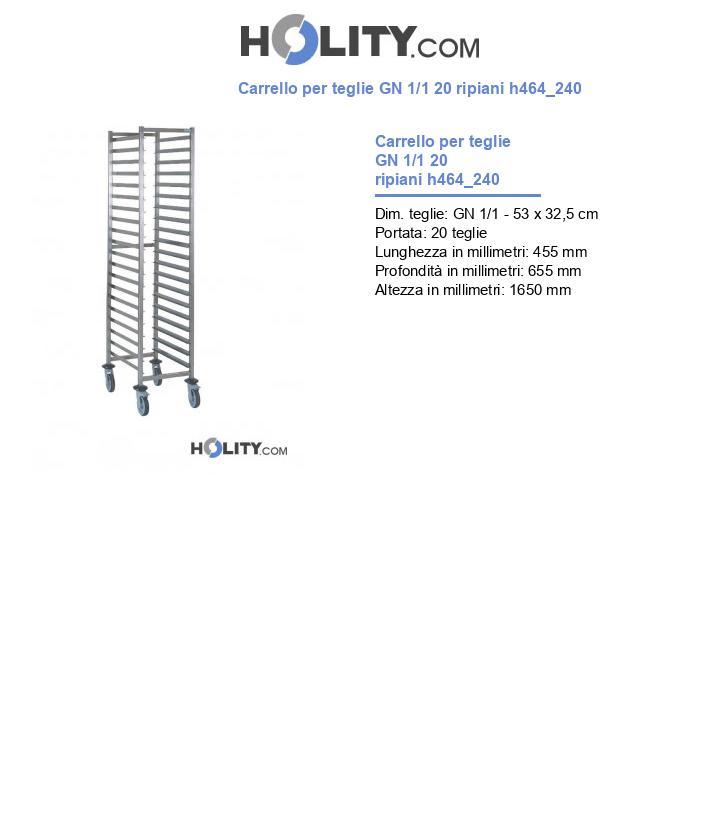 Carrello per teglie GN 1/1 20 ripiani h464_240