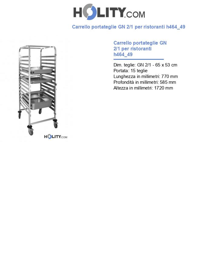 Carrello portateglie GN 2/1 per ristoranti h464_49