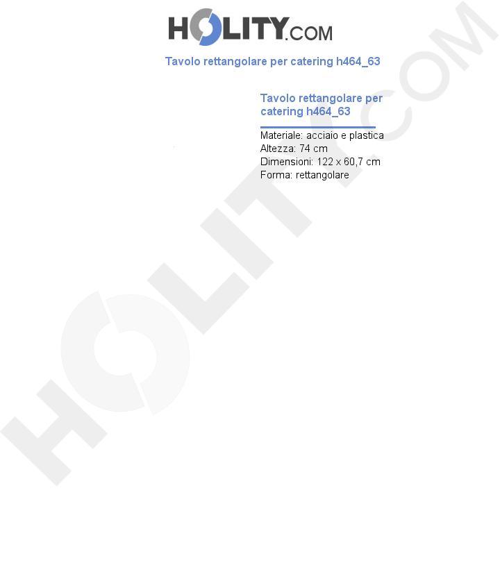 Tavolo rettangolare per catering h464_63