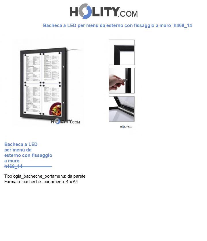 Bacheca a LED per menu da esterno con fissaggio a muro  h468_14