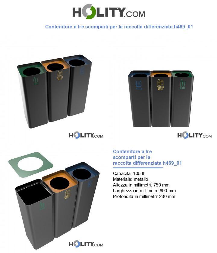 Contenitore a tre scomparti per la raccolta differenziata h469_01