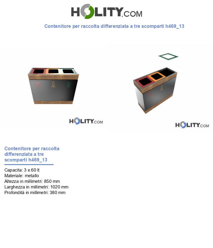 Contenitore per raccolta differenziata a tre scomparti h469_13