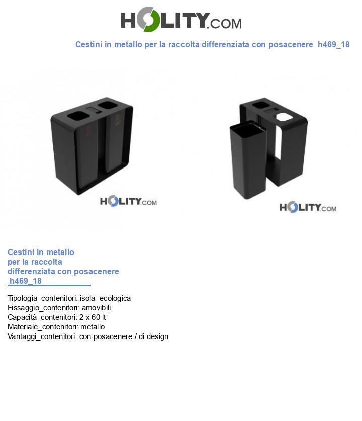 Cestini in metallo per la raccolta differenziata con posacenere  h469_18