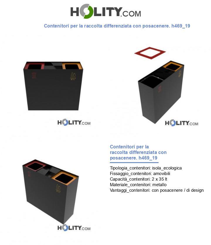 Contenitori per la raccolta differenziata con posacenere. h469_19