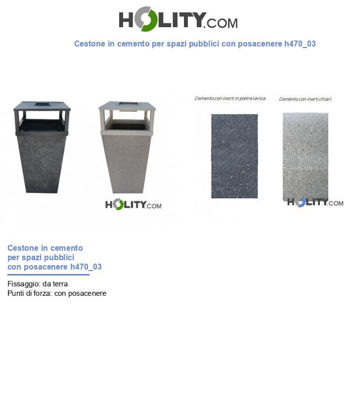 Cestone in cemento per spazi pubblici con posacenere h470_03