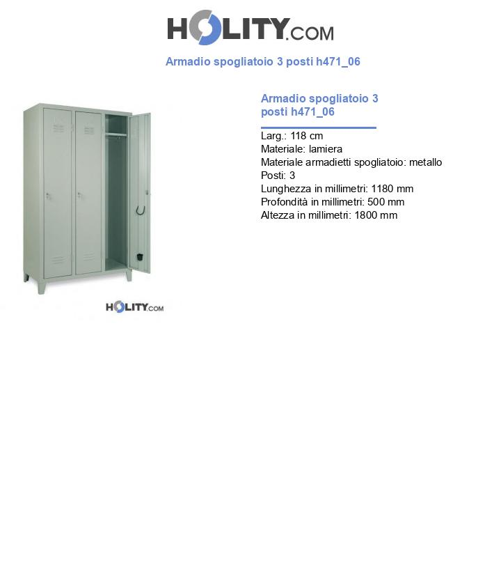 Armadio spogliatoio 3 posti h471_06