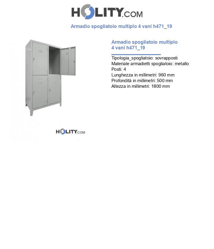 Armadio spogliatoio multiplo 4 vani h471_19