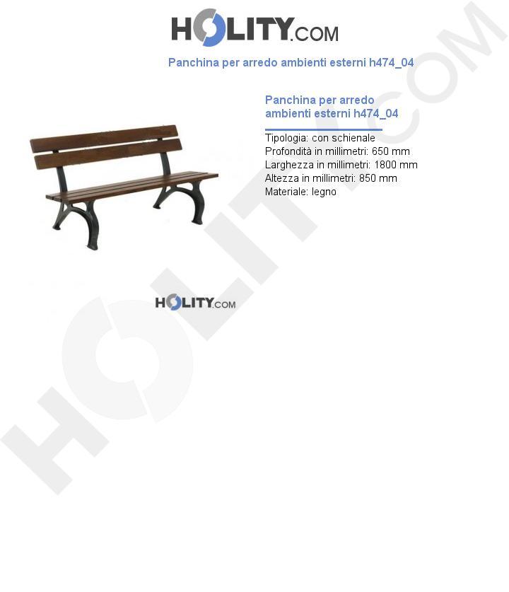 Panchina per arredo ambienti esterni h474_04