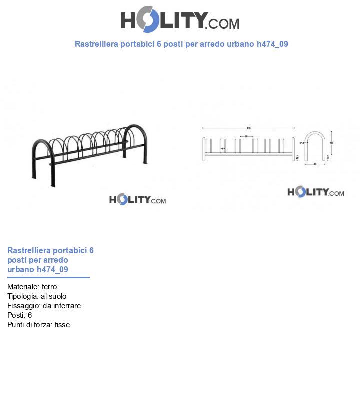 Rastrelliera portabici 6 posti per arredo urbano h474_09