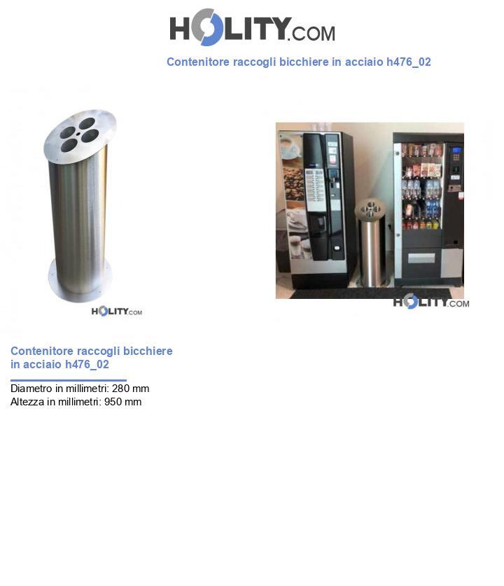 Contenitore raccogli bicchiere in acciaio h476_02