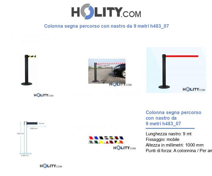 Colonna segna percorso con nastro da 9 metri h483_07