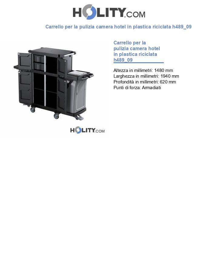 Carrello per la pulizia camera hotel in plastica riciclata h489_09