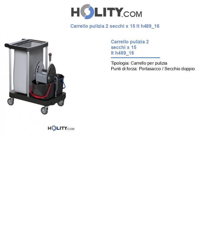 Carrello pulizia 2 secchi x 15 lt h489_16