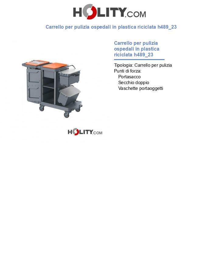Carrello per pulizia ospedali in plastica riciclata h489_23