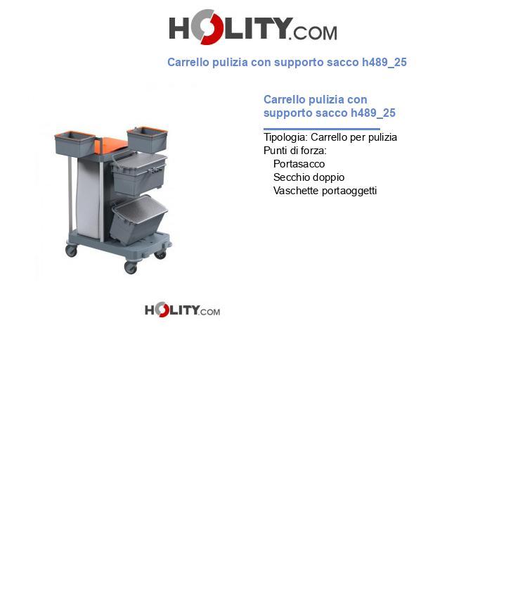 Carrello pulizia con supporto sacco h489_25