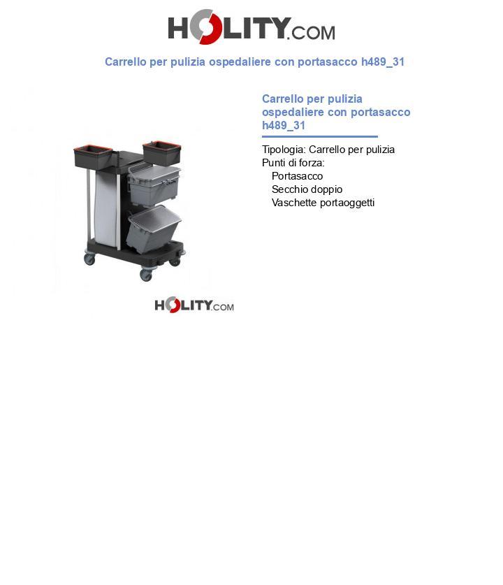 Carrello per pulizia ospedaliere con portasacco h489_31