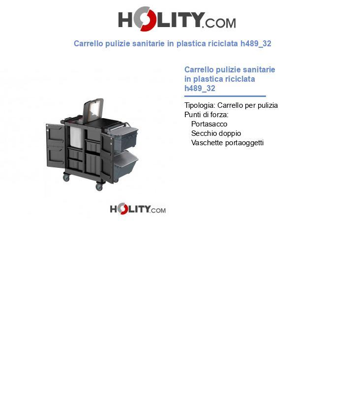 Carrello pulizie sanitarie in plastica riciclata h489_32