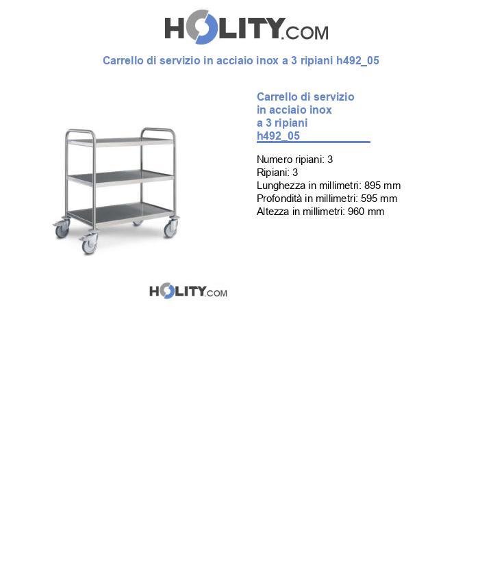 Carrello di servizio in acciaio inox a 3 ripiani h492_05