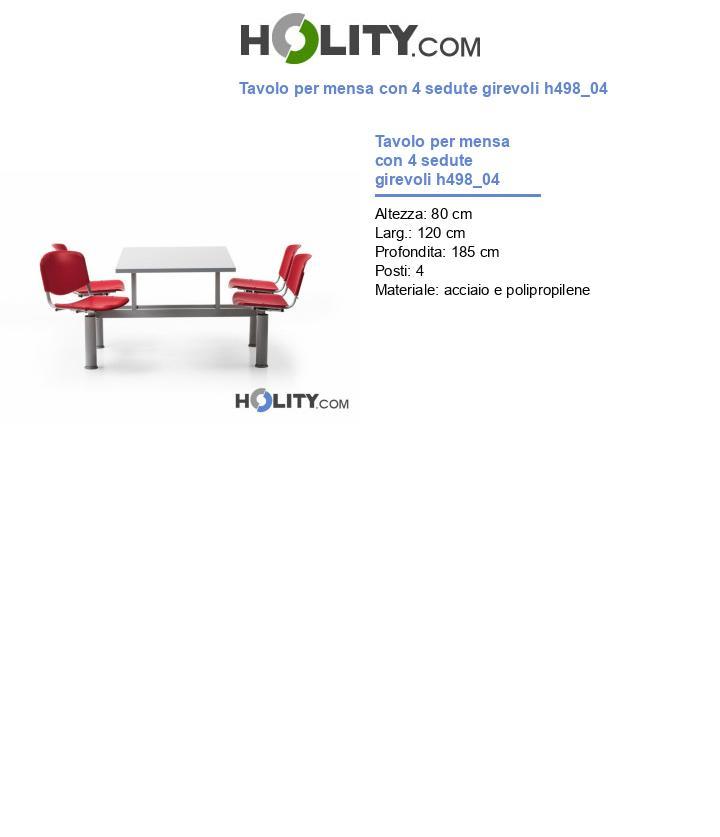 Tavolo mensa con 4 sedute girevoli h498_04